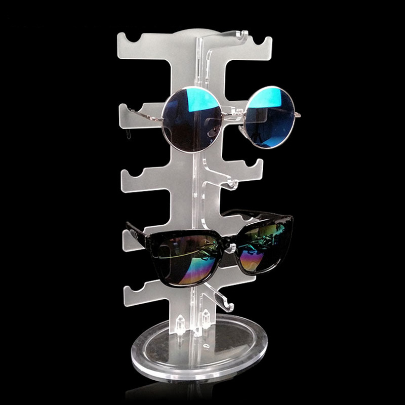 f13788c2318d Fashion Practical Clear 5 Pairs Glass Stand Sunglass Holder Glasses Rack  Display Organizer Sunglasses Frame Shelf Showcase Frost