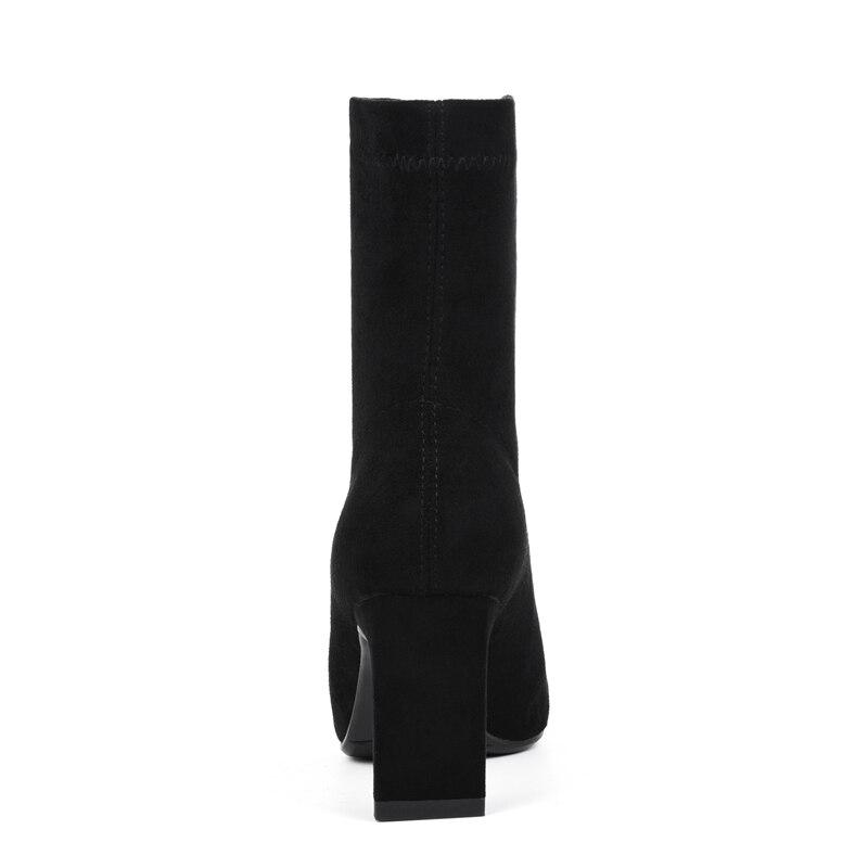 De Slip Orteil Hiver Size34 Minces Femme Pour Zapatos Talons on Bottes Mujer Enmayer Base 40 Black Chaussures Carré Zyl1873 dXEZqw