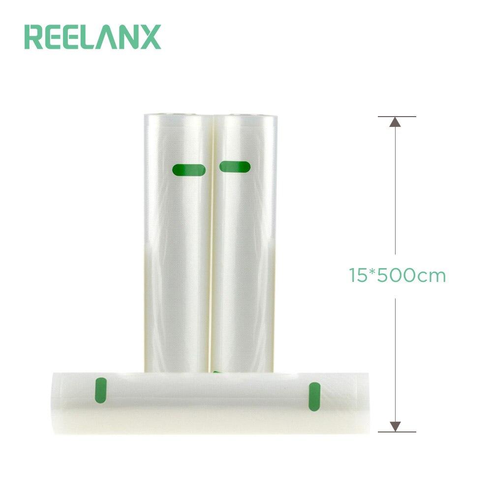 REELANX Vacuum Sealer Bags 1 Roll 15*500cm Food Storage Bags for Vacuum Sealer Sous Vide Kitchen Fresh Food Packaging