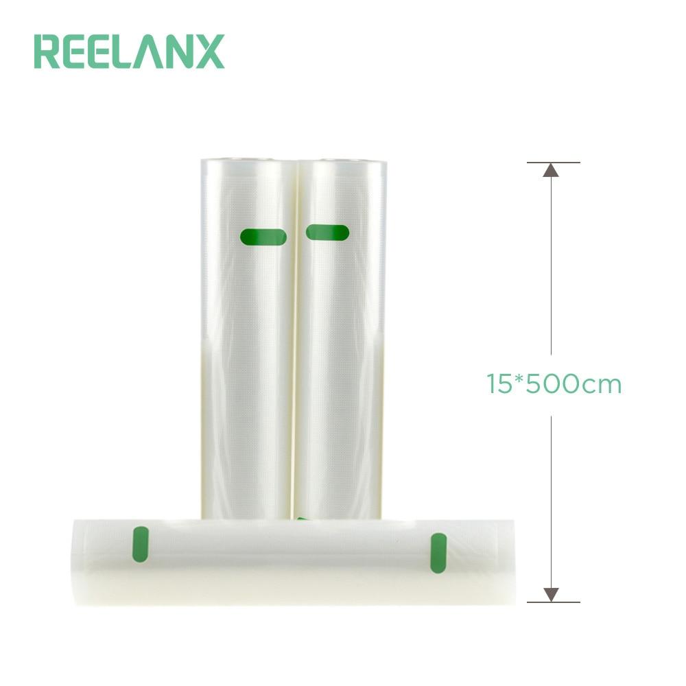 REELANX Vide Scellant Sacs 1 Rouleau 15*500 cm Sacs De Stockage Des Aliments pour Scellant À Vide Sous Vide Cuisine Frais alimentaire Emballage