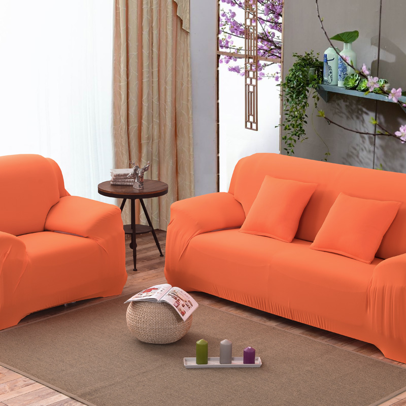 US $28.69 30% OFF|Orange Sofa Cover Fashion Slipcover Stretchable Polyester  Fiber Sofa Cushion Washable Home/Office/Hotel Sofa Covers-in Sofa Cover ...