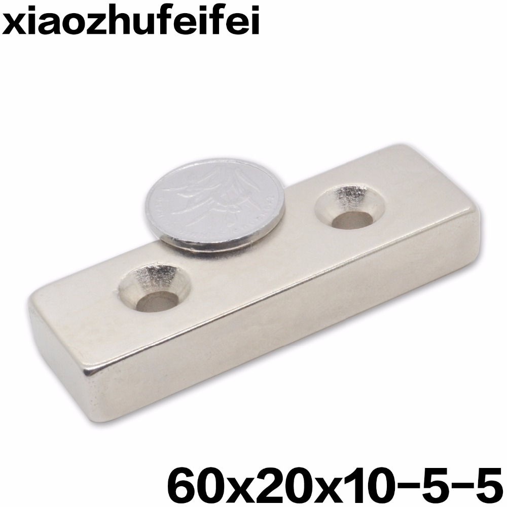 1pcs 60x20x10 Super Powerful Strong Neodymium Block 60 x 20 x 10  Magnet Countersunk 2 Holes 5mm Rare Earth Magnet 60*20*10-51pcs 60x20x10 Super Powerful Strong Neodymium Block 60 x 20 x 10  Magnet Countersunk 2 Holes 5mm Rare Earth Magnet 60*20*10-5