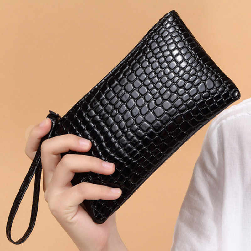 Mô hình cá sấu Phụ Nữ Thời Trang Ví Dây Rút PU Leather Zipper Wallet của Phụ Nữ Thiết Kế Dài Purse Hai Lần Nhiều Màu Sắc Ly Hợp