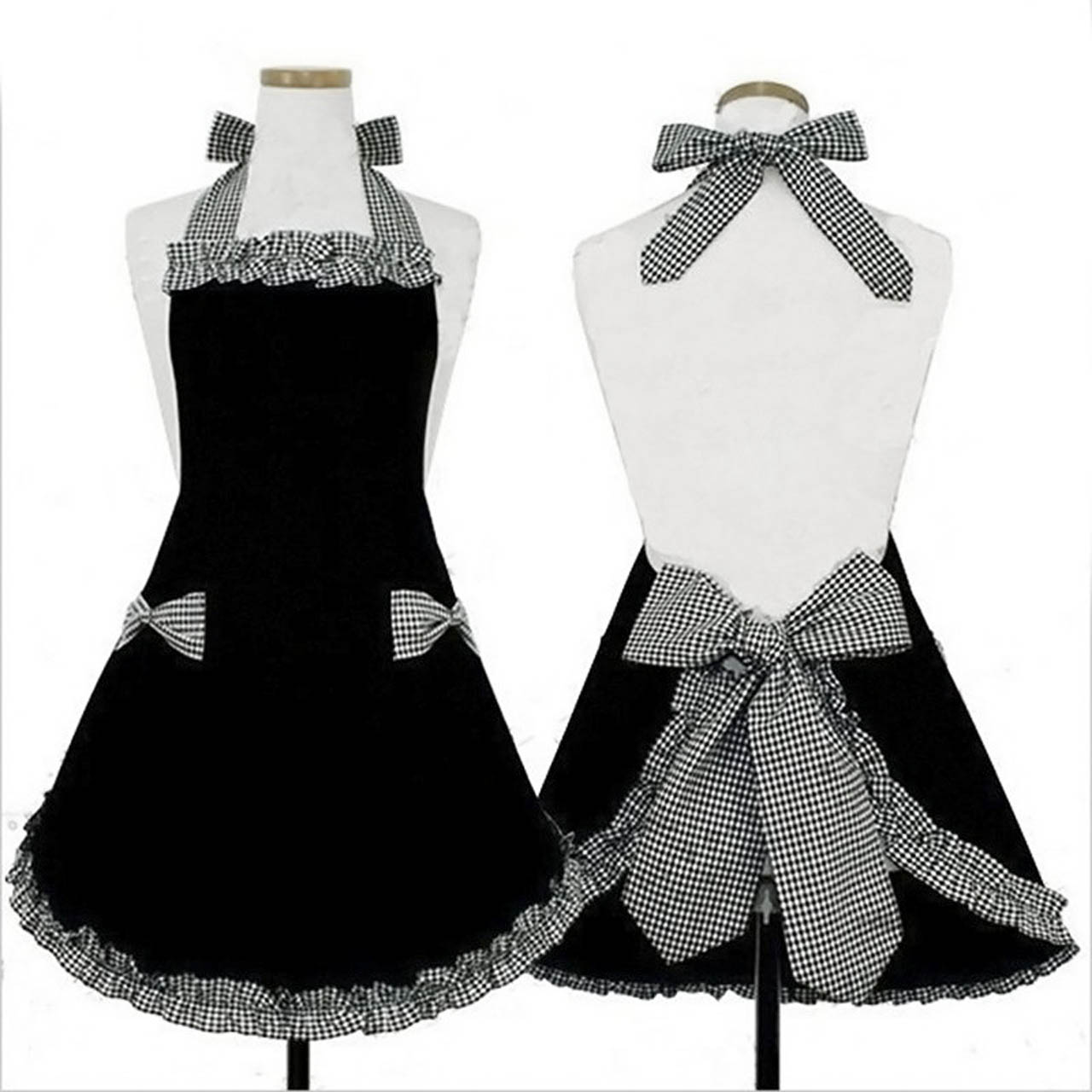 Fashion Vintage Style Bowknots Pockets Design Kitchen Cooking Grid Pattern Princess Cotton Apron