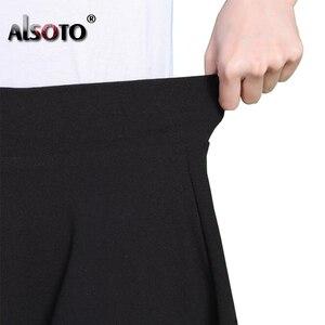 Image 4 - Mode Sommer Stil Frauen Rock Einfarbig Sexy Hohe Taille Midi Plissee Röcke Schwarz Schule Koreanische Version Mini A line Saia