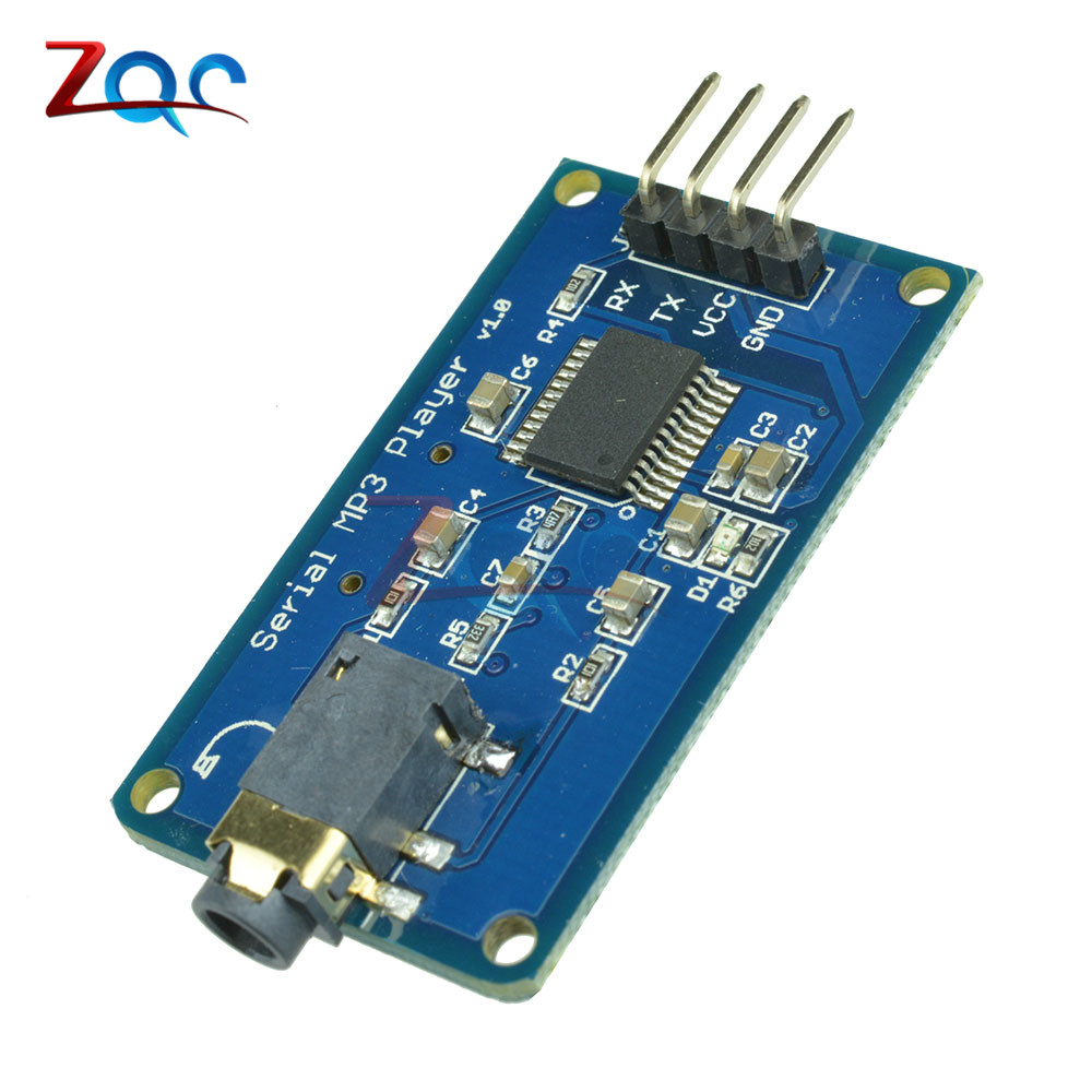 YX5300 UART TTL Serial Control MP3 Music Player Module Support MP3/WAV Micro SD/SDHC Card For Arduino/AVR/ARM/PIC 3.2-5.2V DC ttl turn rs485 module 485 to serial uart level mutual conversion hardware automatic flow control