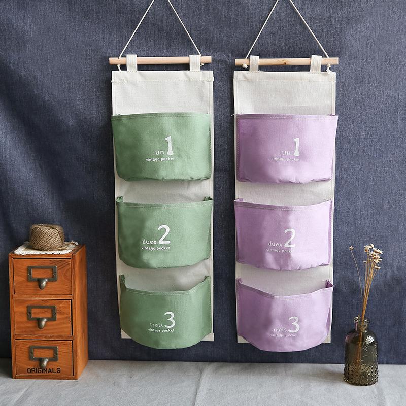 zakka de tres bolsillo unidos colgando bolsas de algodn y ropa del arte del pao bolsas