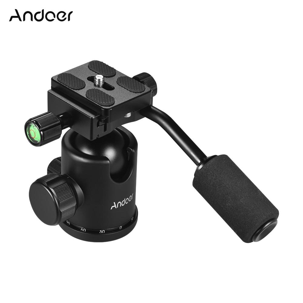 Andoer Handle Tripod Ball Head 360 Degree Rotating Panoramic Ballhead with 1/4 ,3/8inch Screw Hole for DSLR Camera 15kg Load