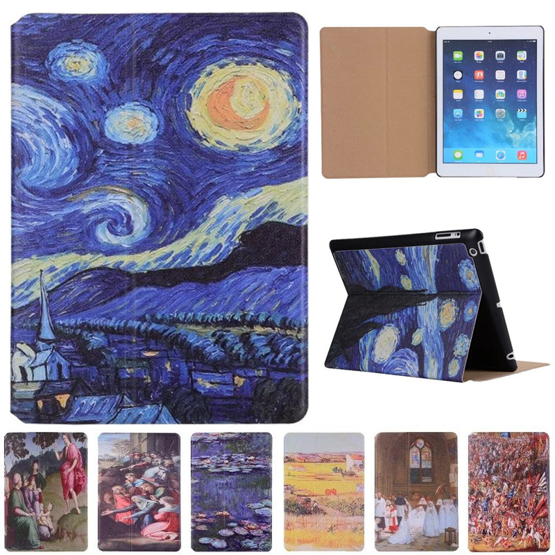 For Ipad 2 3 4 Vincent Van Gogh Starry Sky Oil Painting For Apple Ipad 2