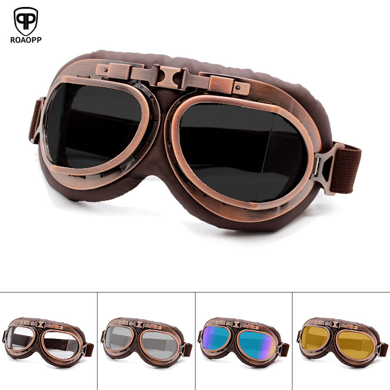 Roaopp Retro Motorcycle Goggles Glasses Vintage Moto Classic Goggles for Harley Pilot Steampunk ATV Bike Copper Helmet(China)