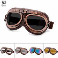 Roaopp Retro Motorrad Brille Gläser Vintage Moto Klassische Brille für Harley Pilot Steampunk ATV Bike Kupfer Helm