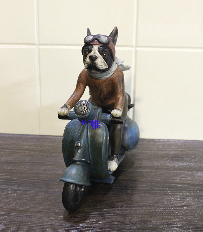 Cute resin French bulldog dog statue home decoration crafts resin animal sculpture dog motorcycle figurine decorations