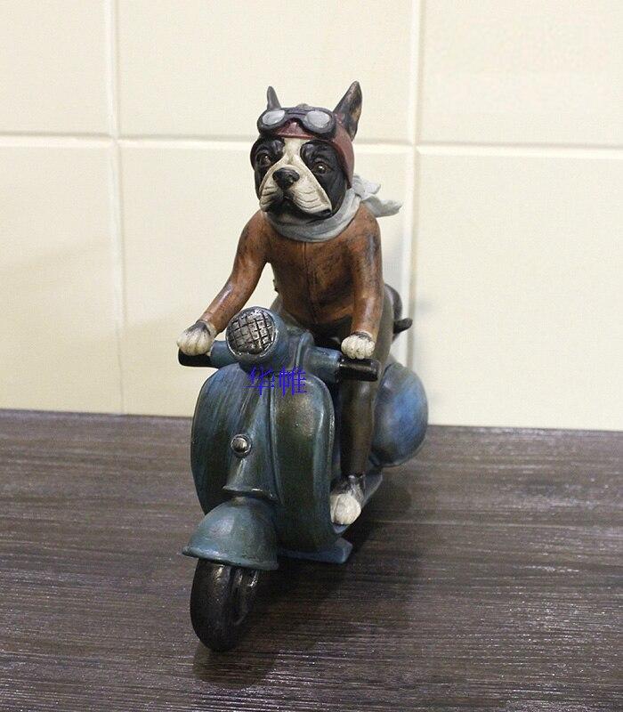 Mignon résine bouledogue français chien statue décoration de la maison artisanat résine animal sculpture/chien moto figurine décorations