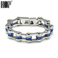 HIP Brand Punk Rock Blue Color Men S Motor Bike Chain Motorcycle Chain Bracelet Bangle 316L