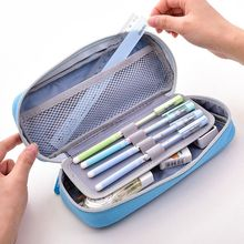 Deli Kawaii Pencil Case Multifunction Double Layer Large Capacity Canvas Pen Curtain Box for Boy Kids Gift Stationery Supplies