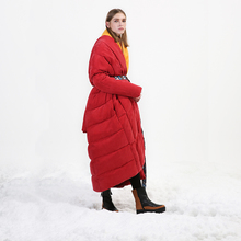 Original Design 2017 new arrival loose long thick warm coat women cupro white duck down jacket