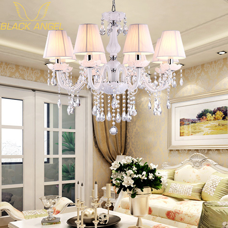 2015 European Style White Crystal Chandeliers Modern LED Chandeliers For Living Room lustres de sala de cristal Free Shipping modern crystal chandelier led hanging lighting european style glass chandeliers light for living dining room restaurant decor