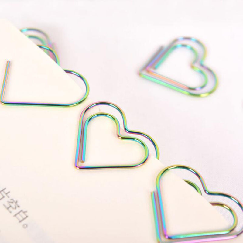 2020 New Colorful Cartoon Love Clip Paper Clip Many Heart Love Electroplated Paper Clip Bookmark Office Supplies 12pcs/lot