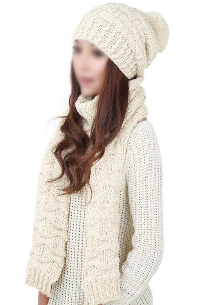Women's Winter Knitted Scarf And Hat Set Thicken Skullcaps-beige