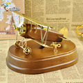 Quality gift reminisced pure copper vintage music box wood and metal plane musical box birthday gifts for girls