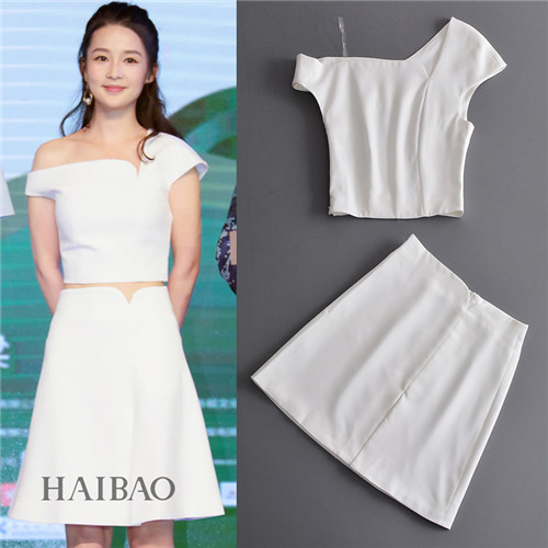 2017 Summer Runway Solid Color All White Two Piece Set Women Noho Style One Shoulder Crop Tops and Split Skirts Elegant Suits
