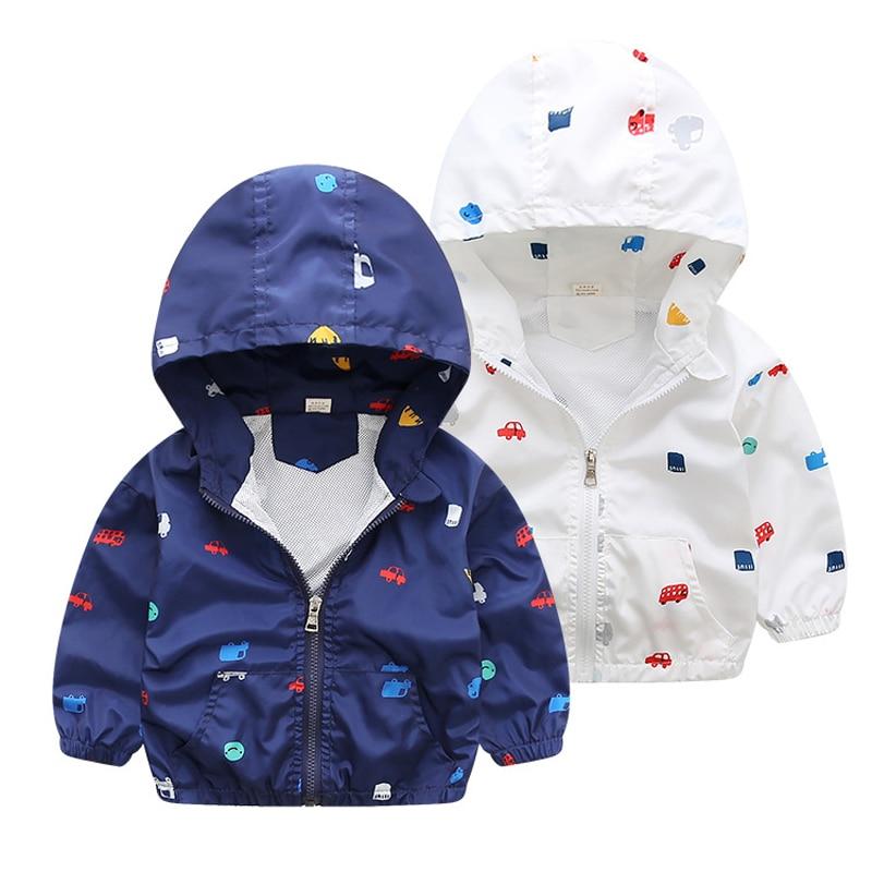2018 Демисезонный куртка для маленьких мальчиков модная детская Костюмы малышей куртка с рисунком для мальчиков Детская куртка с капюшоном д...