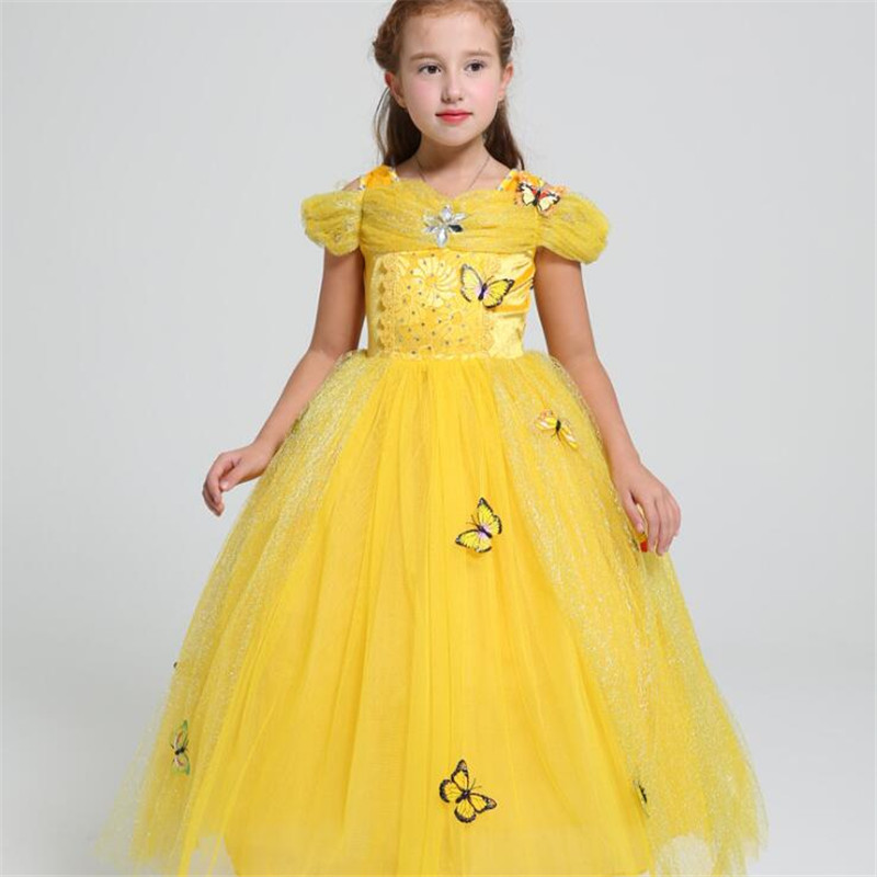 Girls Ball Gown Belle Princess Dress Baby Kids Fancy Party Christmas Halloween Costumes Beauty Beast Cosplay Yellow Lace Dress 4pcs gothic halloween artificial devil vampire teeth cosplay prop for fancy ball party show