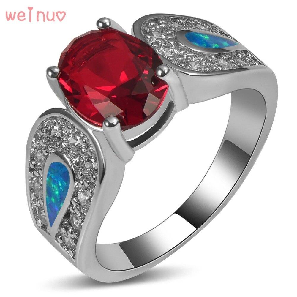 Weinuo Ovale Rouge Cristal Bleu Opale Blanc Cristal Anneau 925 Sterling Argent Top Qualité Bijoux De Mariage Anneau Taille 5 6 7 8 9 10 11