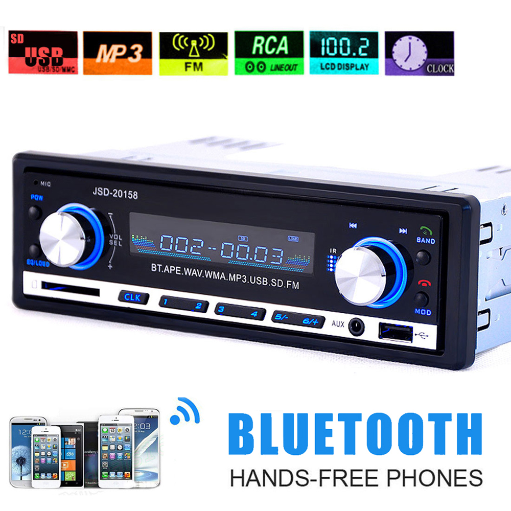 Hot Sale 1 DIN font b Car b font Radio Bluetooth MP3 Player Stereo Audio In