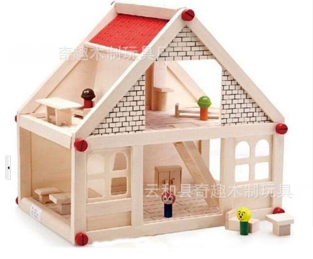 Baby wooden assemble doll house huge wood villa with Wooden baby doll furniture