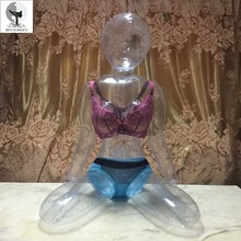 BED KUNGFU Transparent Sex Doll For Men PVC Sitting Posture Lifelike Plastic Sex Dolls Inflatable Adult Doll Vagina Silicone Toy