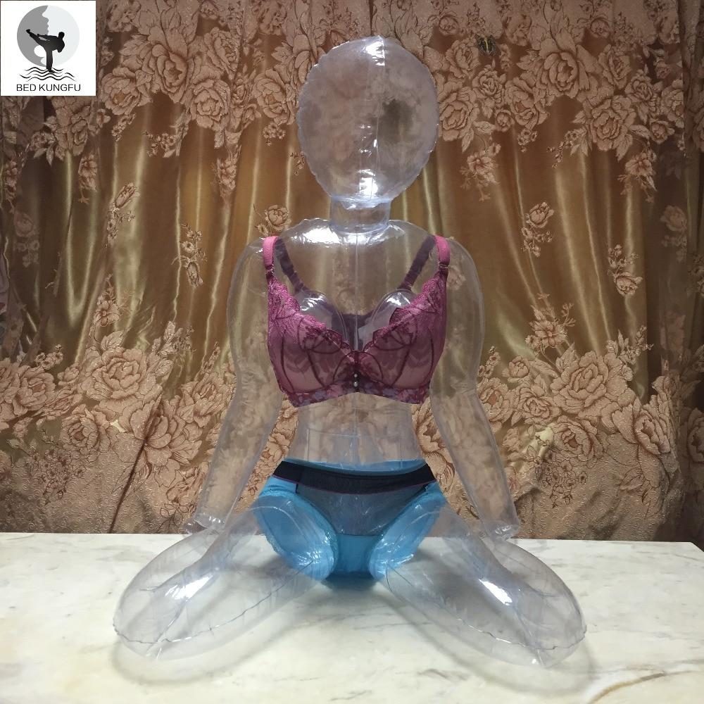 BETT KUNGFU Transparent Sex Puppe Für Männer PVC Sitzhaltung Lebensechte Kunststoff Sex Dolls Aufblasbare Erwachsene Puppe Vagina Spielzeug