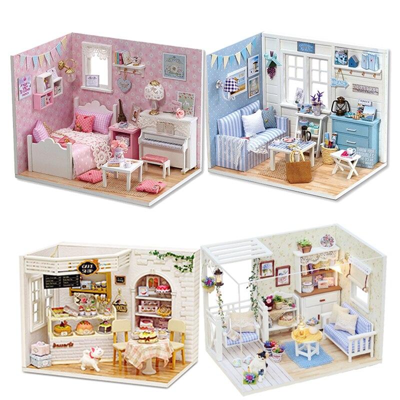Casa de boneca diy casa de bonecas em miniatura modelo de brinquedo de madeira móveis casa de boneca bonecas casas brinquedos presente aniversário h012