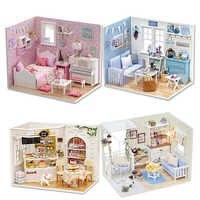 Casa di bambola FAI DA TE In Miniatura Casa Delle Bambole Modello Giocattolo Di Legno Mobili Casa De Boneca Bambole Case Giocattoli Regalo Di Compleanno H012