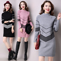free shipping 2016new fashion pull femme spring turtleneck long sweater dress female thick women woolen knitted sweater pullover
