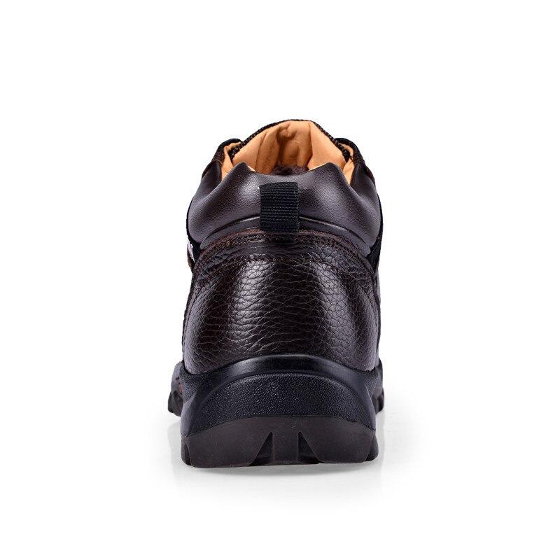 brown Black De Botas 44 Couro Quente Pelúcia Sapatos 38 Homens Qualidade Alta Trabalho Inverno wOCxH7ntqR