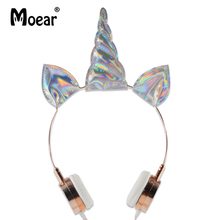 hot deal buy girls lovely sparky unicorn headphones wired 3.5mm earphones for mp3 players pc