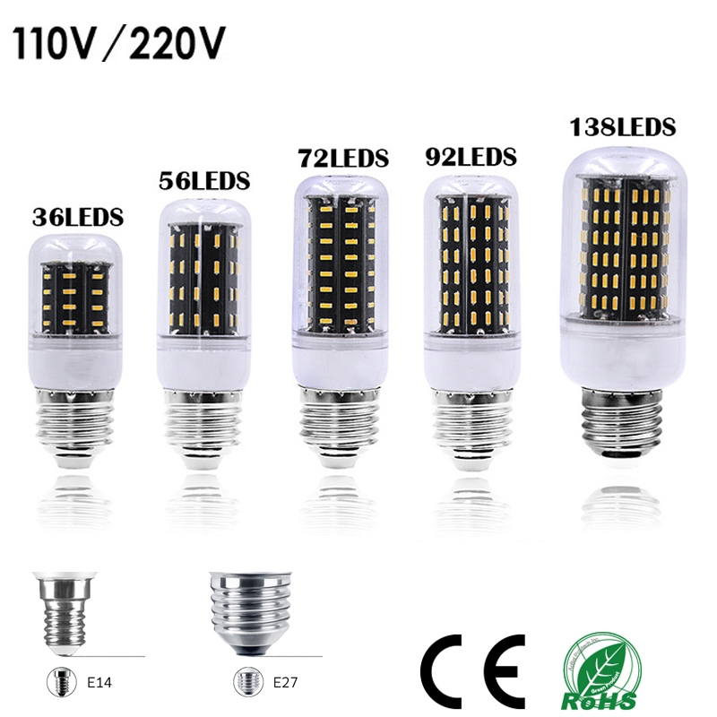 1Pcs 2018 Full NEW LED Lamp E27 E14 36 56 72 96 138LEDs SMD 4014 Corn Bulb 220V 110V Chandelier LEDs Candle Light Spotlight