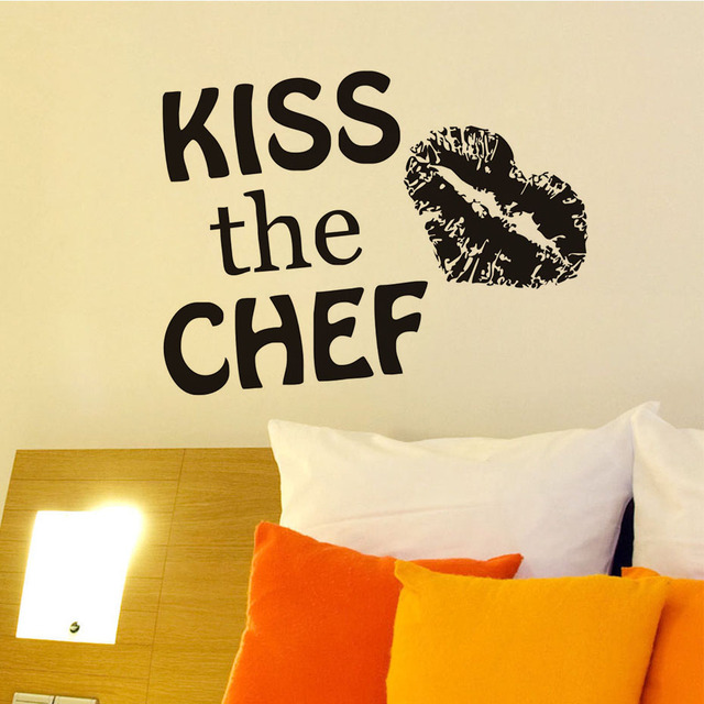 Kiss the chef lady lip print pattern diy removable art design vinyl quotes wall sticker decal
