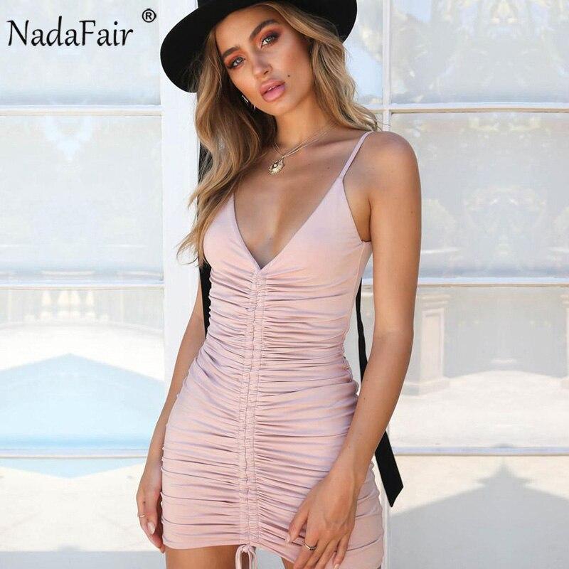 Nadafair Spaghetti Strap Deep V Neck Backless Lace-up Sexy Skinny Bodycon Club Dresss Women Summer Dress