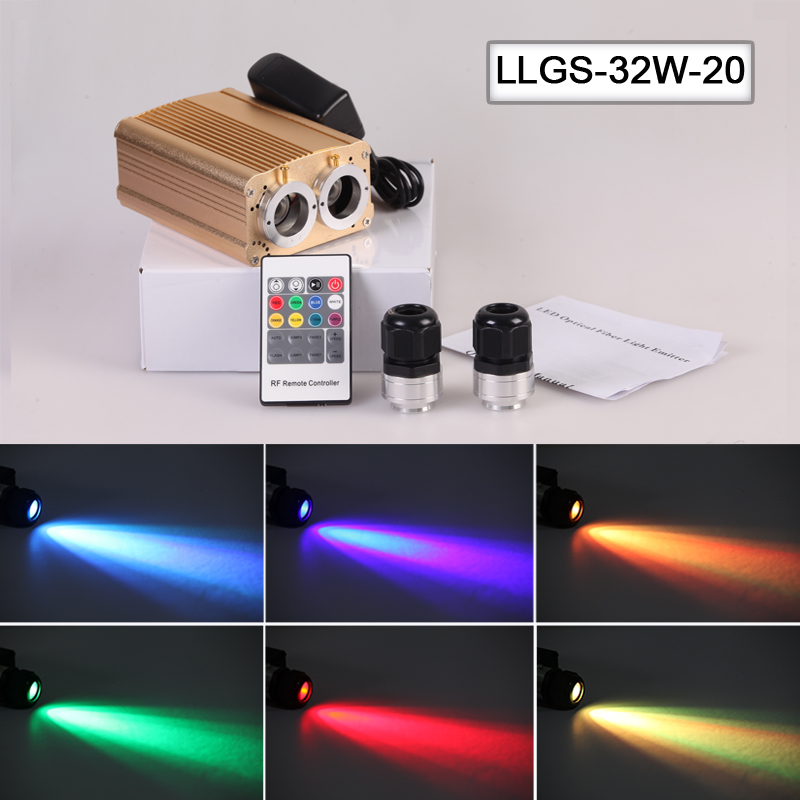 Free shipping RGB color 32w led fiber optic light engine with dual port 20mm lighting decoration