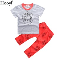 Hooyi Lion Baby T-Shirt Pant Clothes Set Toddler Grey T-Shirt Red Trouser Sport Suit Boys Outfit 100% Cotton Tops 0 1 2 3 Years