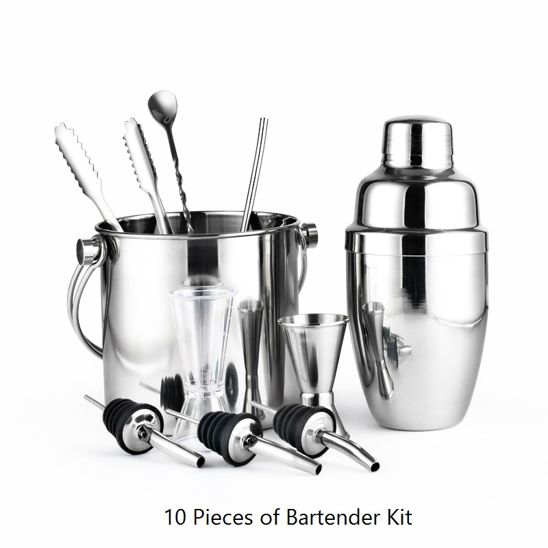 Greenhill 10 Pieces Barware Set Cocktail shaker set including shaker 550ML Bucket Tong Jigger Spoon Straw