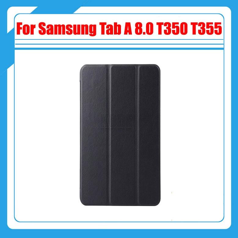 3 i 1, PU lädermagnet skalfodral för Samsung Galaxy Tab A ELLER 5 8,0 T350 T351 T355 SM-T350 + Skärmskydd + Stylus