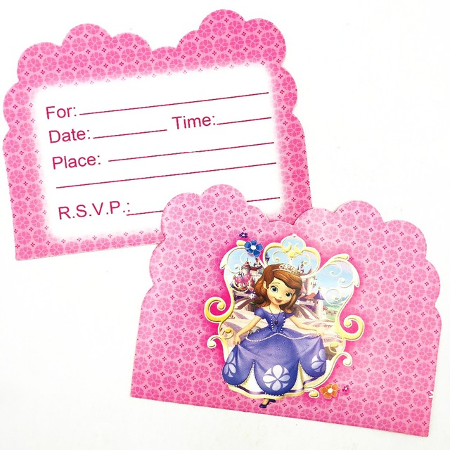 10pcs Princess Sofia Themed First Birthday Party Invitations Partyware Baby Shower Decoration Ideas Invitation Card