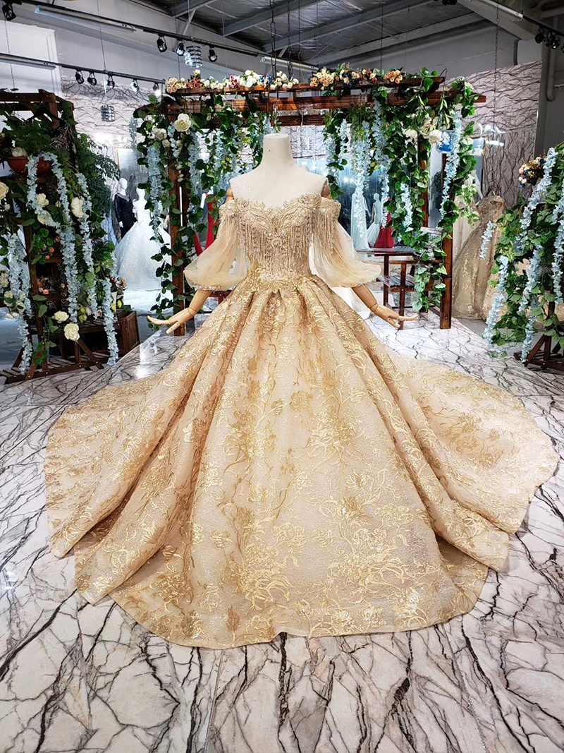 HTL20 Golden lace Wedding Dress with train puffy half sleeves tassel  princess bridal dresses for girl vestidos de novia 20