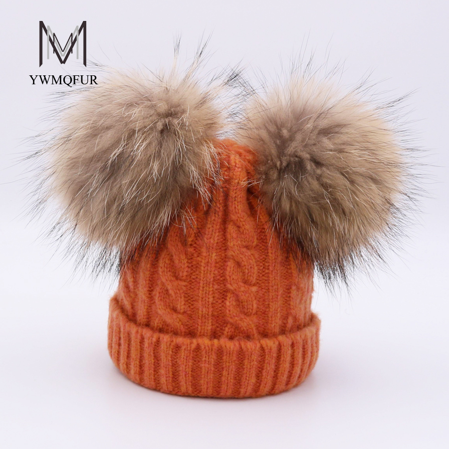 YWMQFUR Cute Real Fur Pom poms Hat for Children Winter Knit Beanies Cap with Real Raccoon Fur Ball Baby Removable Fur Hat Kids new star spring cotton baby hat for 6 months 2 years with fluffy raccoon fox fur pom poms touca kids caps for boys and girls