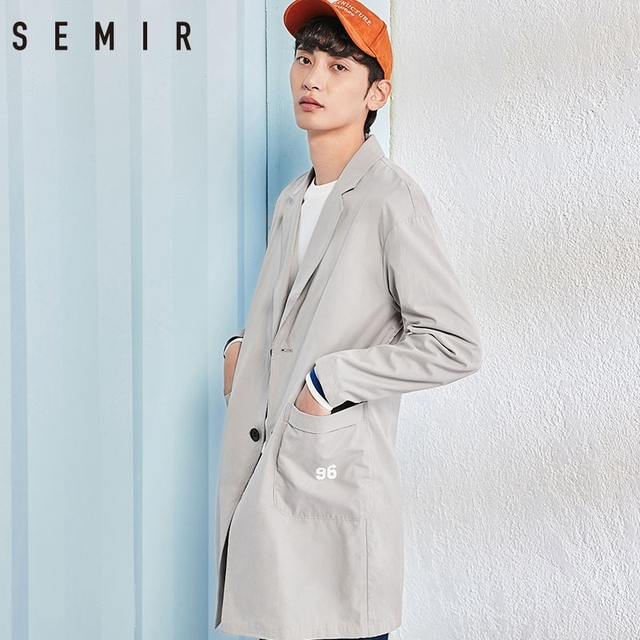 Semir trench jacket for Men 2018 Autumn Long style Thin Coat Korean Fashion Casual Clothes Male Coats Youth Men Windbreaker