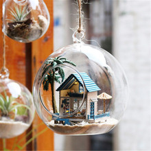 Cute Families House DIY Mini Glass Ball Series Assembled Nordic Style Kids Decoration Toys Juguetes Brinquedos