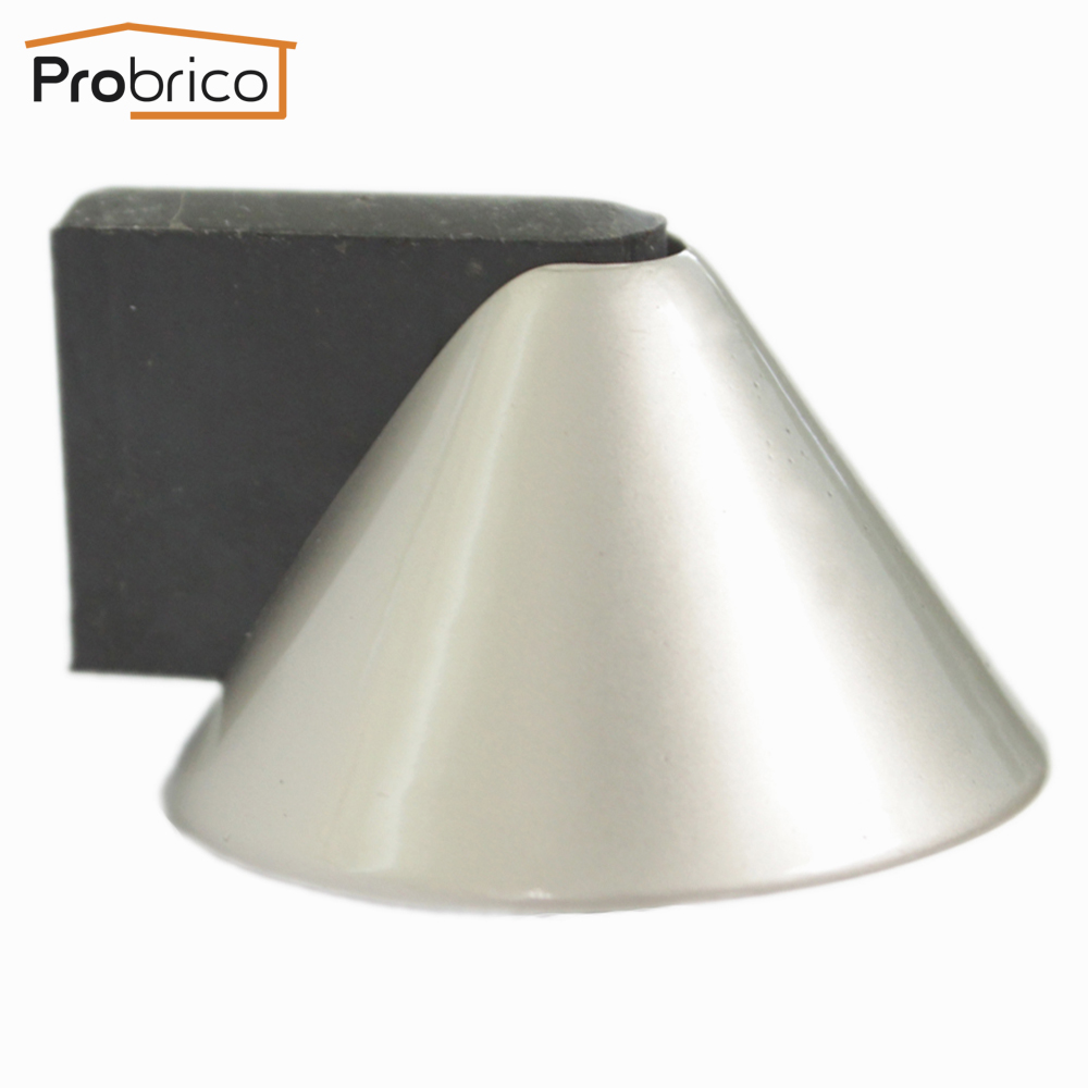 probrico door stopper ds8295sn zinc alloy satin nickel conical door holder catch rubber